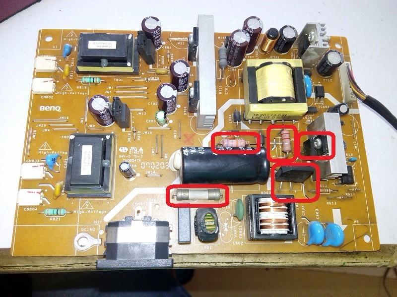 电源线正常情况下,检查电视机电源板下图中红圈内器件:保险电阻断路